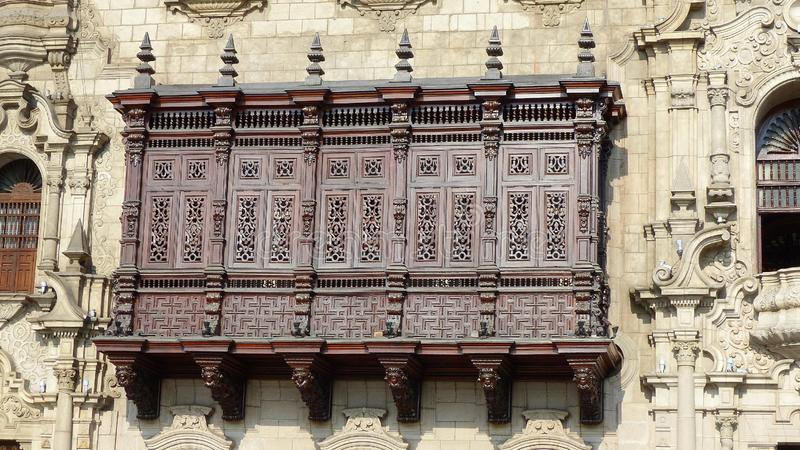 Balcony of the Archbishop Palace of Lima, Peru stock image