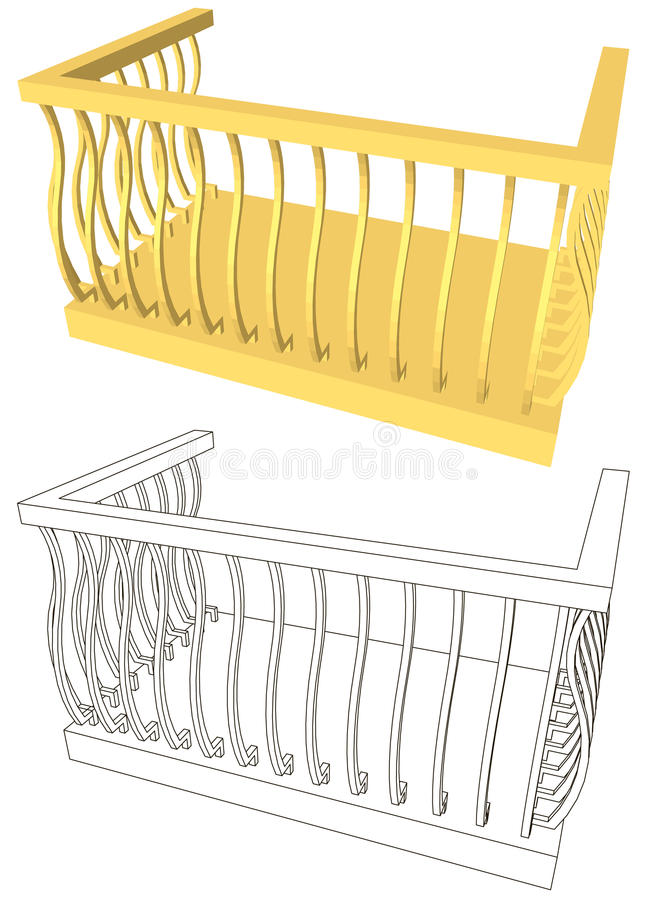 Balcony. In black on a white background isolated stock illustration