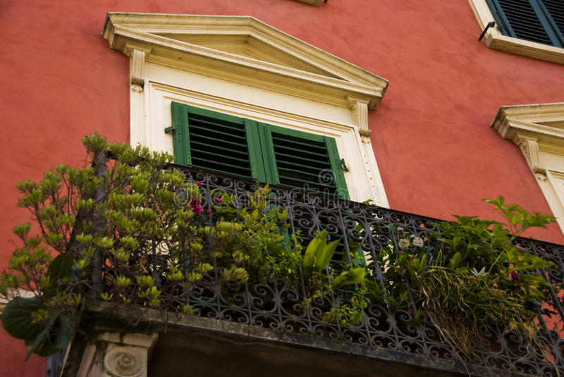 Balcony in Borgo a Buggiano, Tuscany, Italy. With plants and flowers stock photography