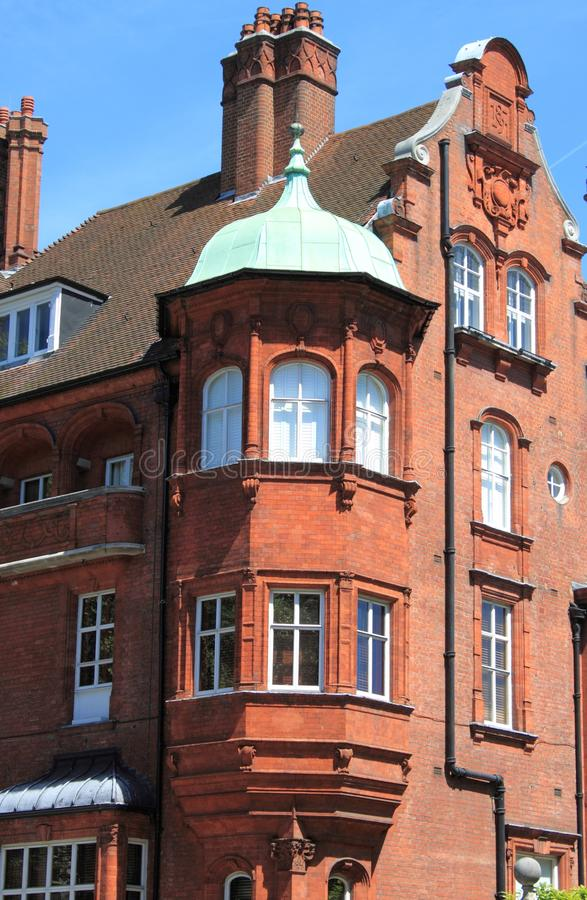 Balcony in a british red brick mansion stock photography