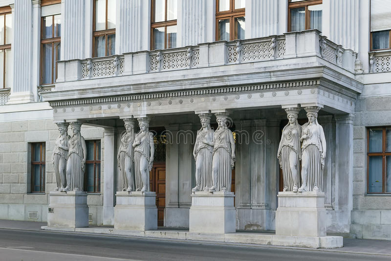 Balcony with caryatids, Vienna. Balcony with caryatids in The Austrian Parliament Building in Vienna stock photography
