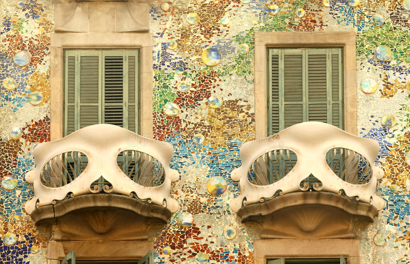 Balcony of Casa Batllo in Barcelona. Detail of Antoni Gaudi modernist building, Casa Batllo, in Barcelona stock photo
