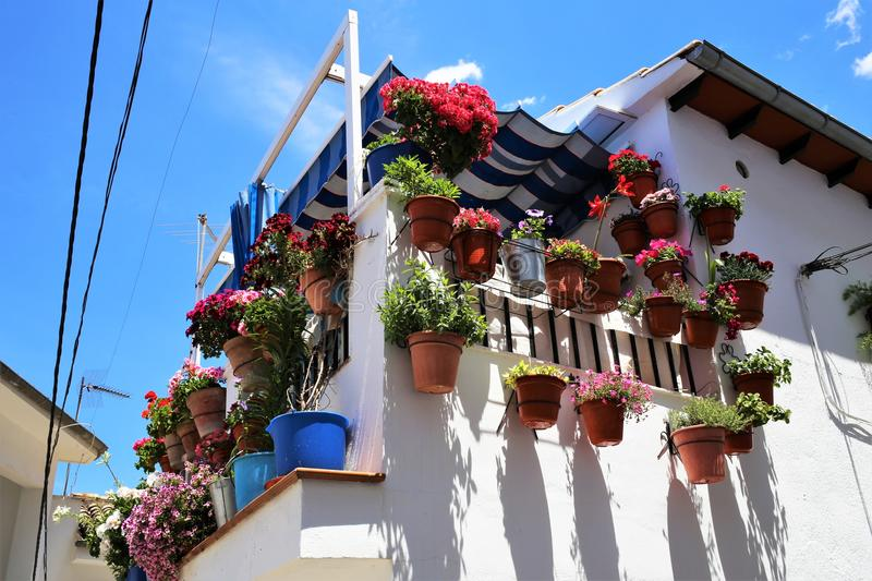 Balcony of Cazorla a village of the province of Jaen in Andalusia. Typical image of a balcony of Cazorla a village of the province of Jaen in Andalusia, Spain stock photo
