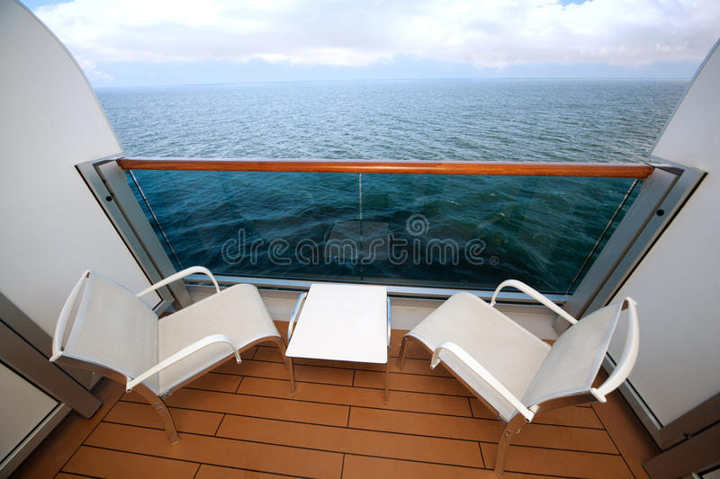 Balcony With Chairs Table On Ship Royalty Free Stock Photo