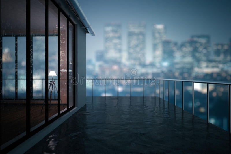 Balcony closeup. Close up of concrete balcony in modern building. Blurry night city background. 3D Rendering vector illustration