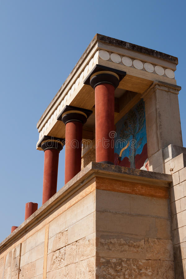 Balcony with a colonnade, relief fresco depicting bull stock image