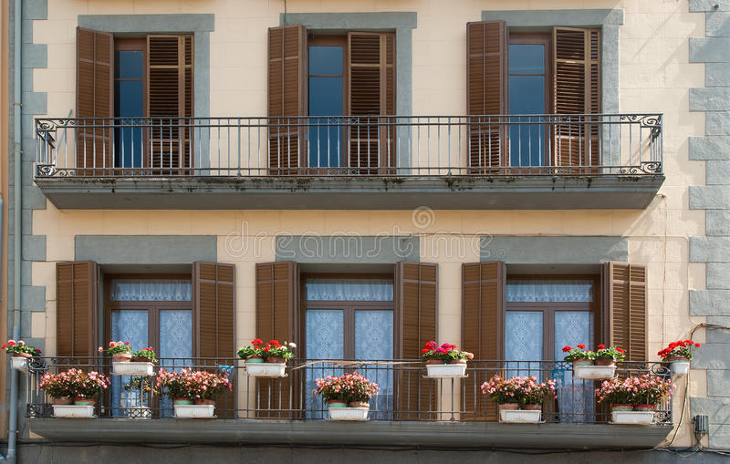 Download Balcony Decorated With Flowers Stock Photo - Image of balconies, colour: 20226312