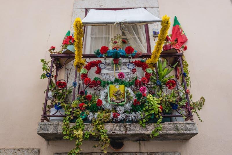 Balcony in Lisbon stock image