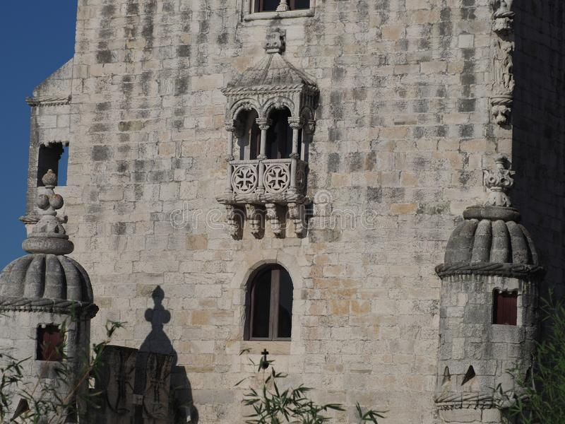 Belem tower, Lisbon, Lisboa Portugal - balcony detail royalty free stock photography