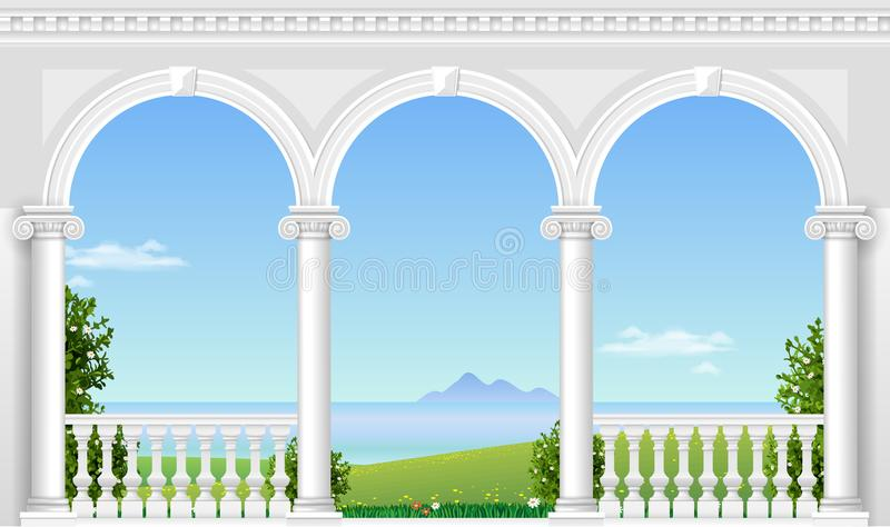 White arch of the palace. Balcony of a fabulous palace in classical style with a view of the sea landscape. Vector graphics royalty free illustration