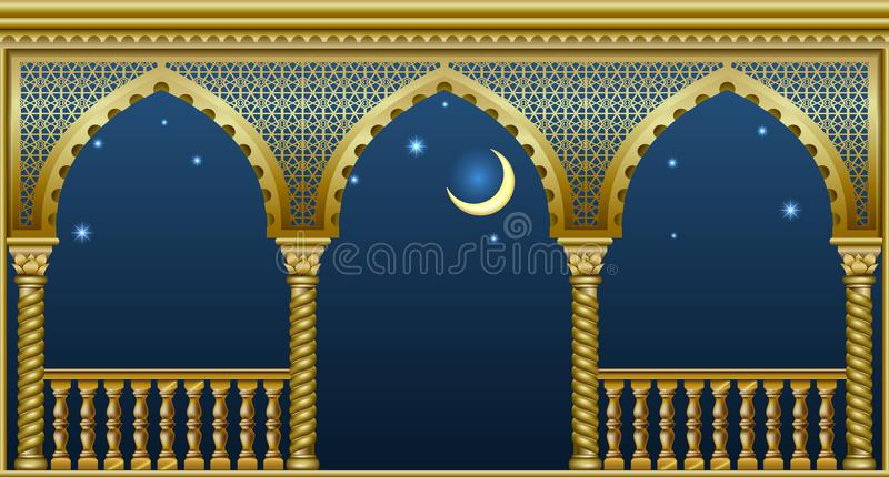 Balcony of the fairytale palace. Balcony of a fabulous palace in oriental style with a view of the night sky. Vector graphics stock illustration