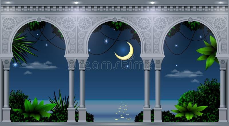 Arch of the Eastern Palace. A balcony of a fabulous palace in oriental style with a view of the tropical night landscape. Vector graphics stock illustration