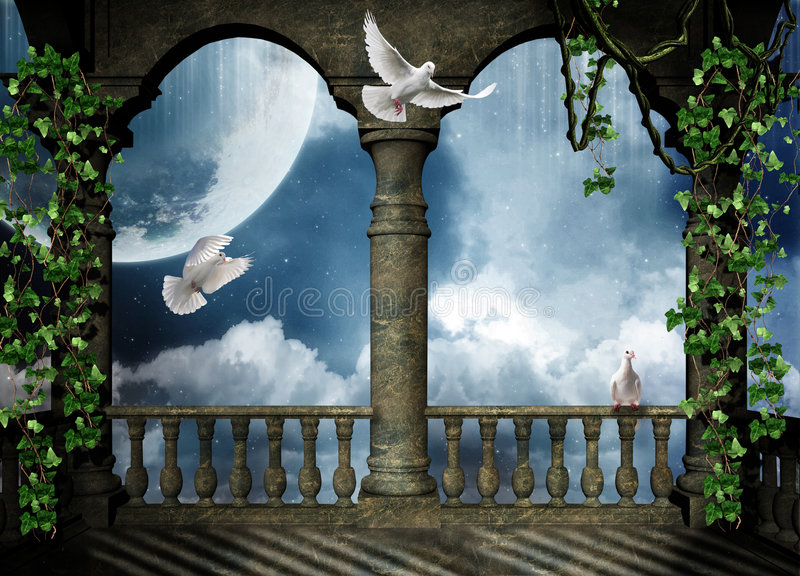 Balcony for the fantasy. Beautiful view of a balcony at night with doves flying royalty free illustration