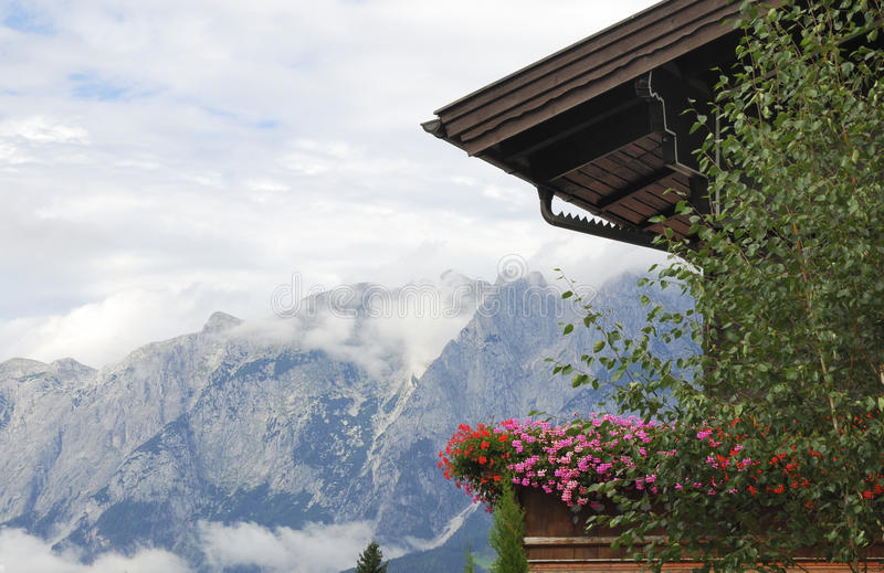 Download Balcony flowers stock image. Image of view, balcony, mountain - 16095687