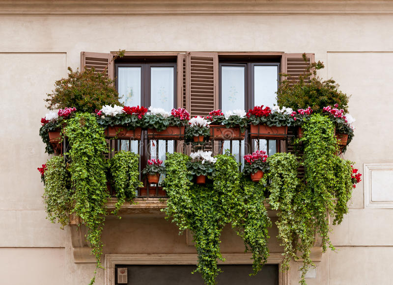 Balcony with flowers stock image