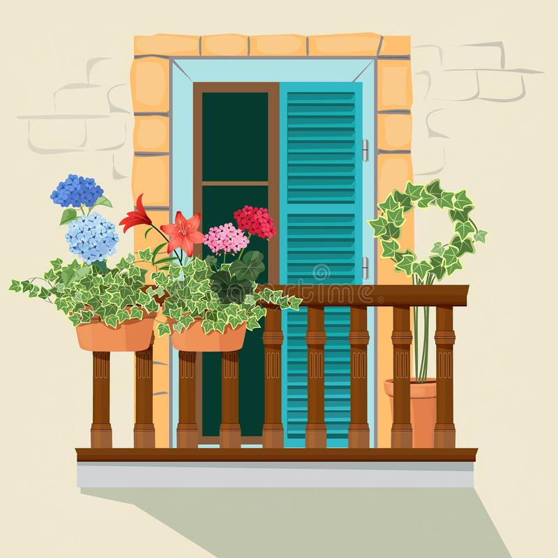 Balcony flowers. House facade window and decorative plants pots grow windowsill funny spring sunlight home appartment. Vector background. Illustration of facade royalty free illustration