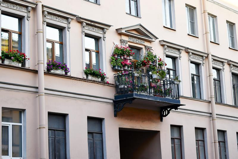 Balcony with flowers in Italian style stock photos