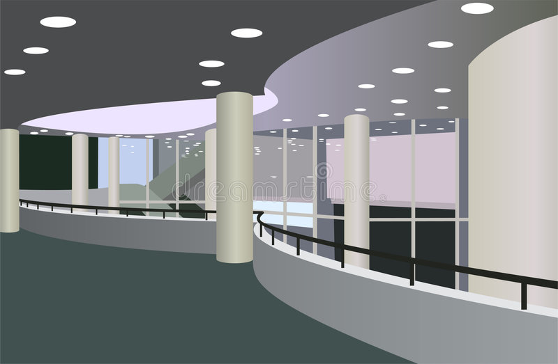 Balcony in the foyer. Of the concert hall vector royalty free illustration