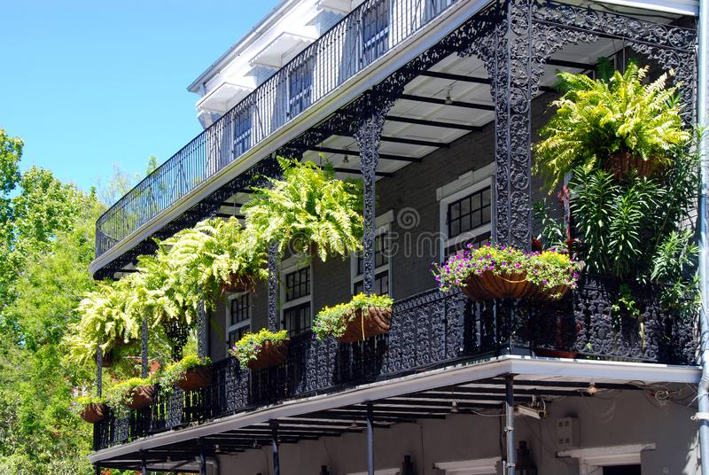 Balcony in french quarter royalty free stock photo