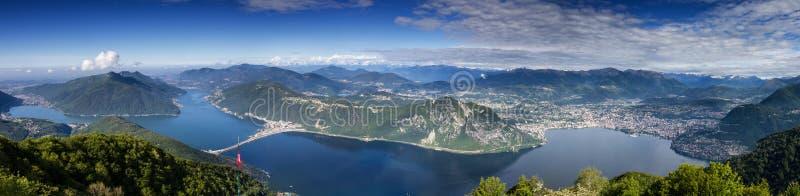 Balcony of Italy - Panorama of Lake Lugano royalty free stock photography