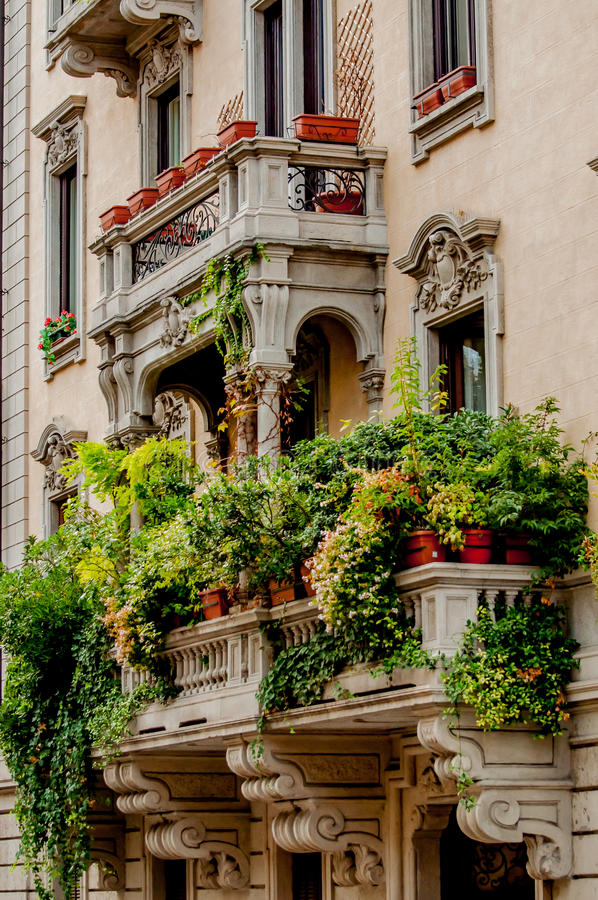 Balcony with Jungle of Plants. A balcony of an old building is covered in pots of beautifull green plants to the point that it looks like a small jungle stock image