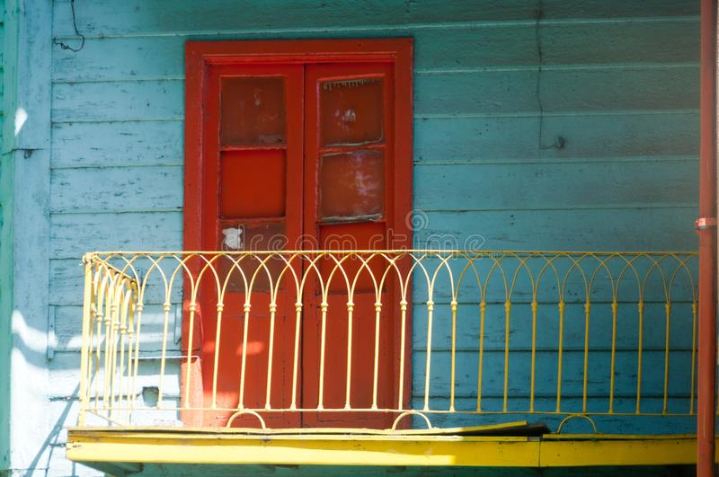 Balcony in La Boca. La Boca is a colorful area in the Argentinian Capitol Buenos Aires. Here we see a colorful balcony on one of the houses stock photography
