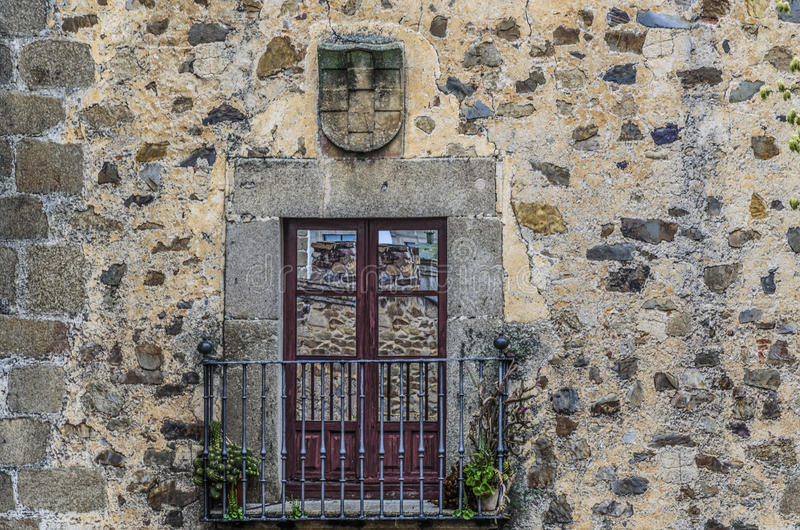 Balcony of the middle ages in the city of Caceres royalty free stock image