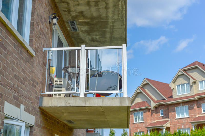 The balcony of the modern condo building royalty free stock images