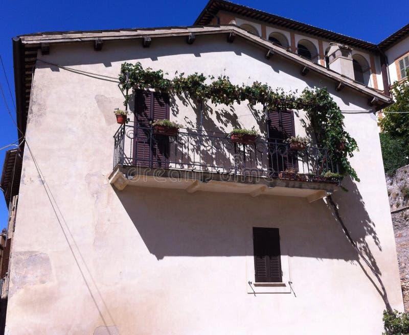 Balcony in Montefalco stock photography