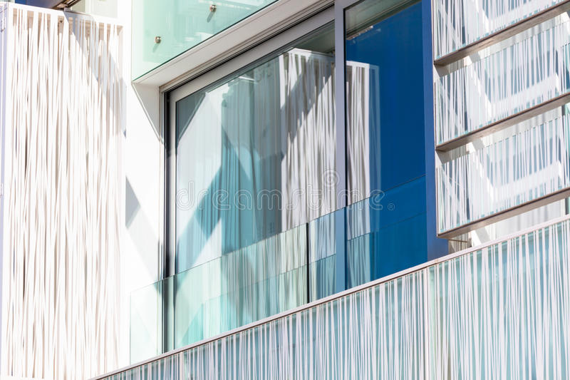 Balcony In A New Glass Wall Apartment House Stock Photos