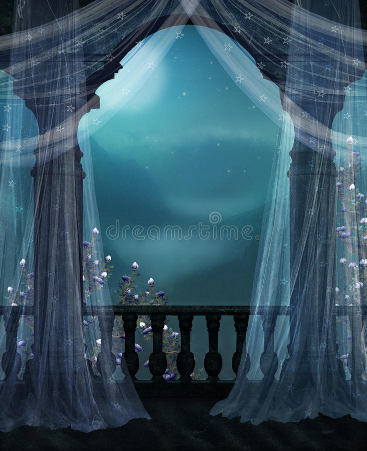 Balcony at night vector illustration