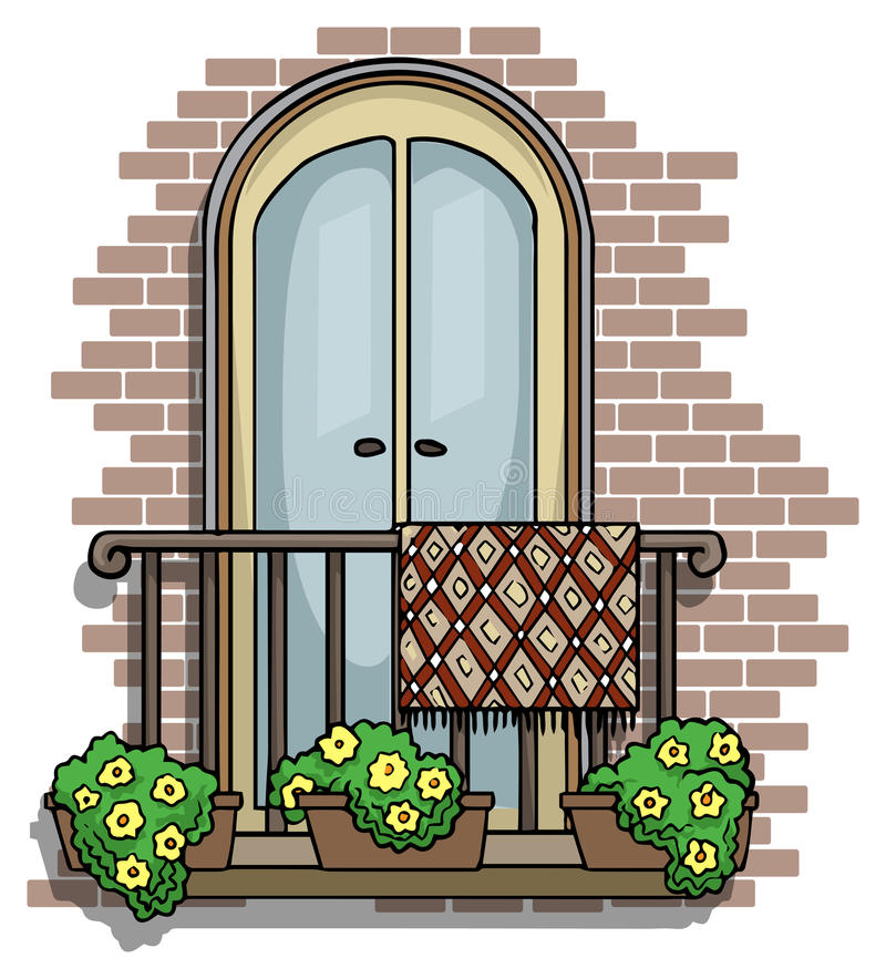 Balcony. Old brick wall with retro balcony, architectural detail royalty free illustration