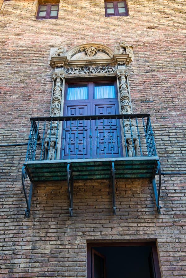 Balcony with Ornate Railing and Door, Barcelona royalty free stock photos