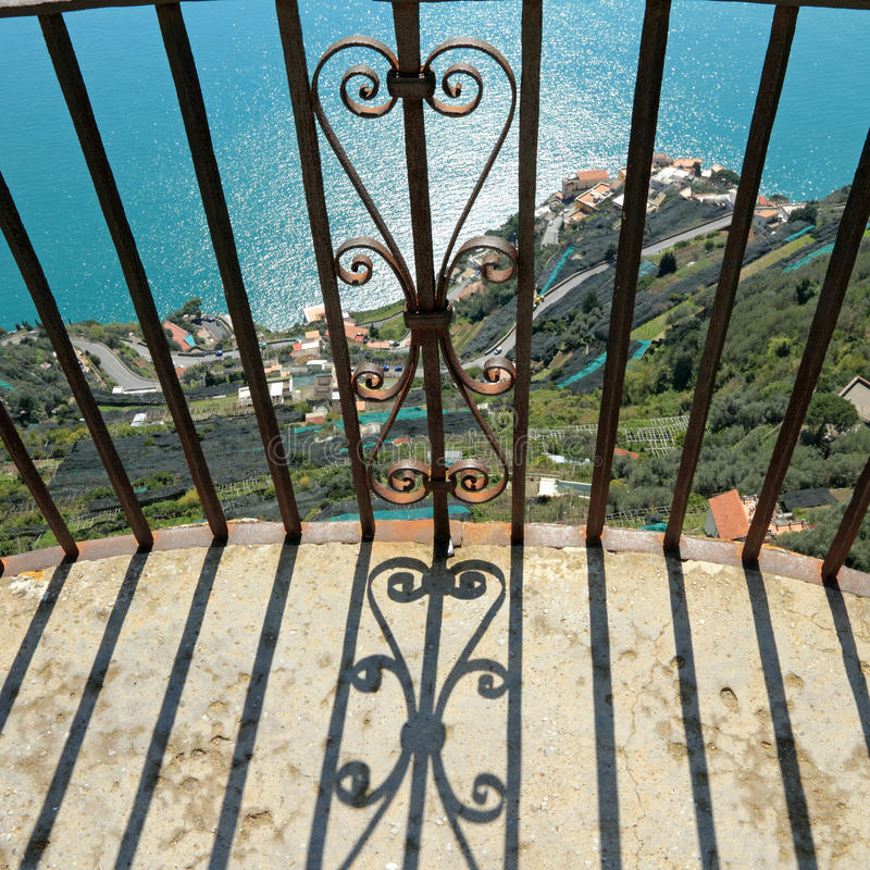 Balcony over a cliff stock images