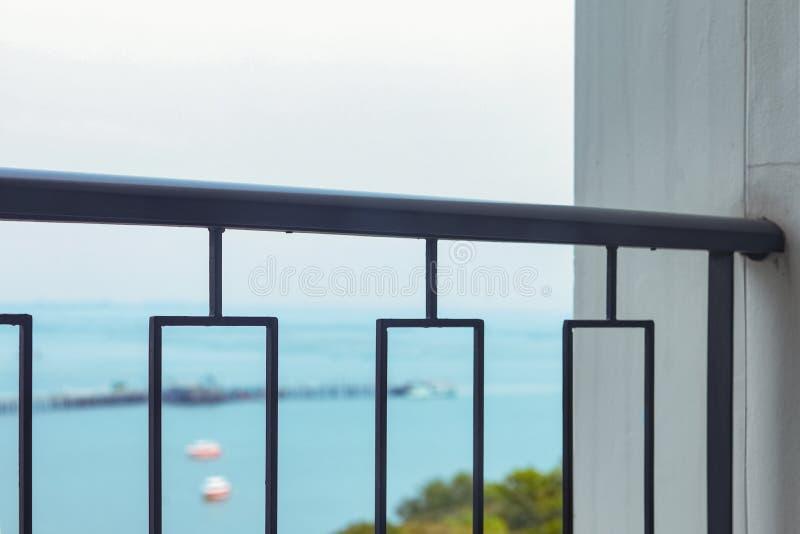 Balcony over seaview stock image