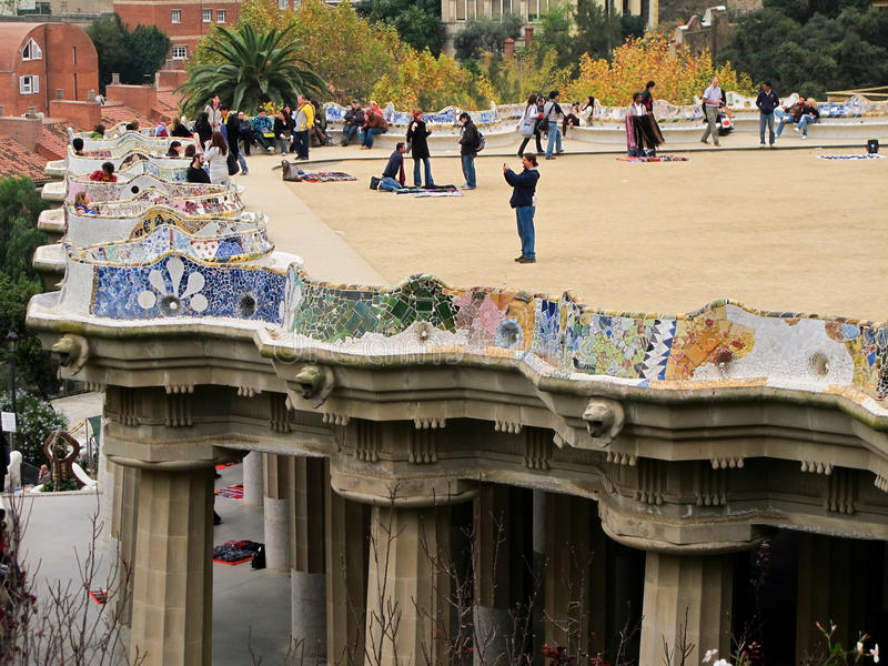 Balcony Of Park Guell Editorial Stock Photo