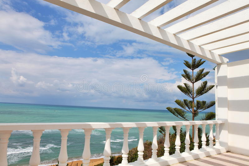 Balcony with the sea view. And araucaria tree stock photo