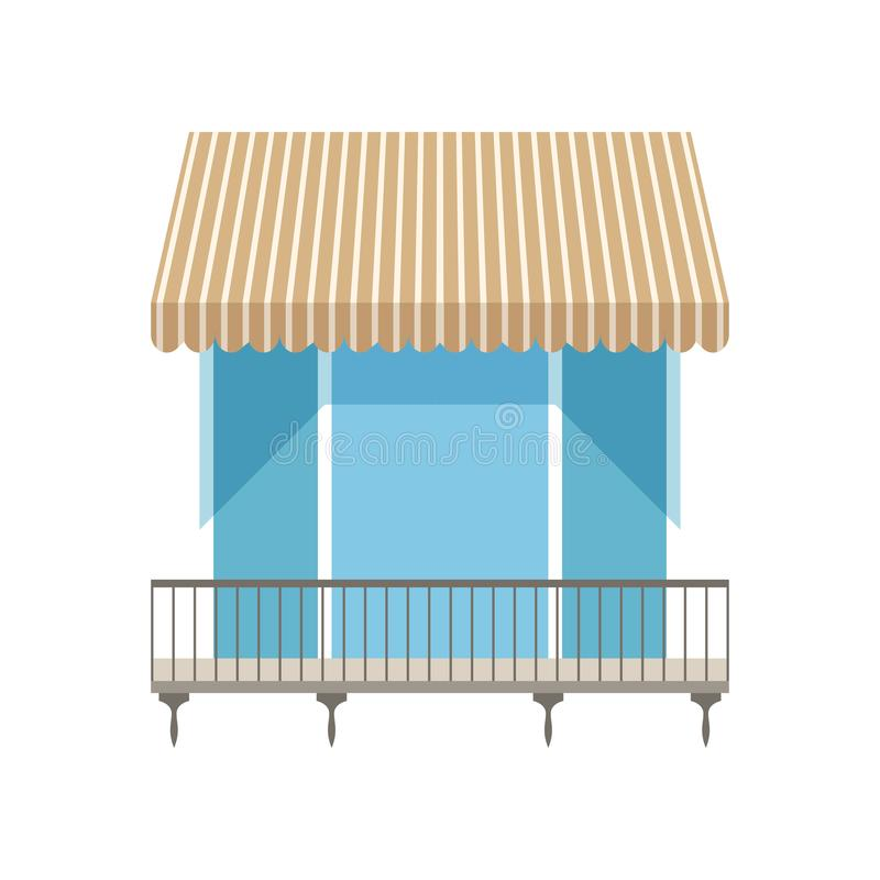 Balcony with shutters awning vector Illustration on a white background. Balcony with shutters awning vector Illustration isolated on a white background stock illustration