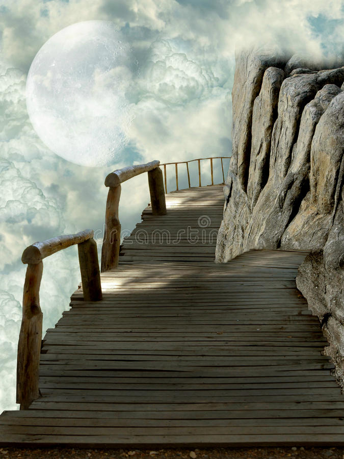 Balcony in the sky. With rocks royalty free illustration