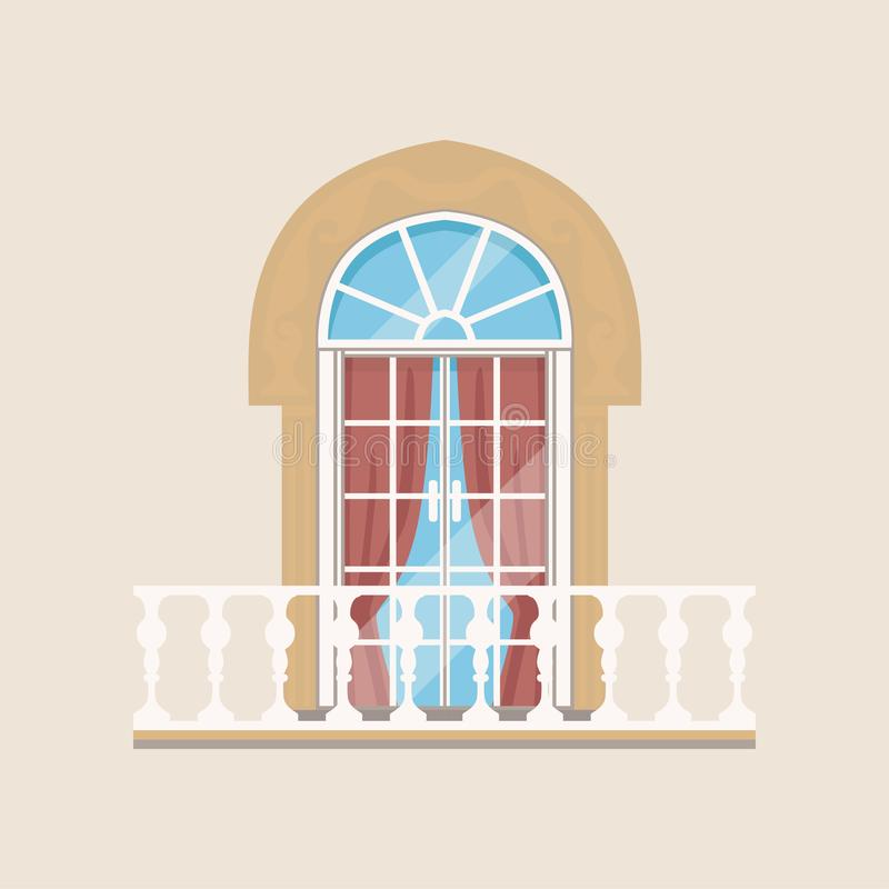 Balcony with stone balusters and arched window vector Illustration. Flat style royalty free illustration