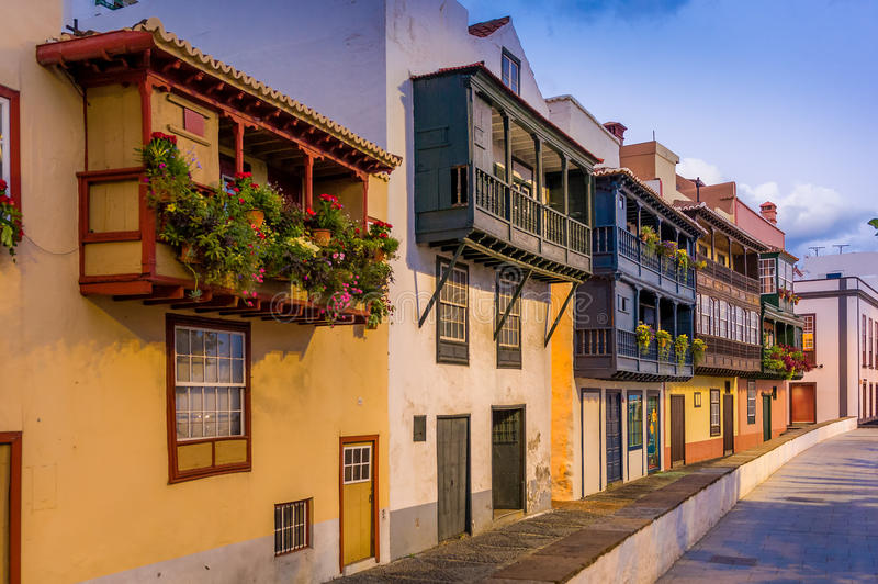 Balcony street at Santa-Cruz de La Palma. Evening view of famous balcony street at Santa-Cruz de La Palma. Canary islands, Spain stock photos
