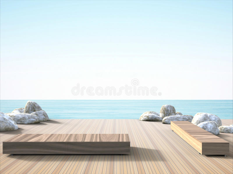 Balcony and stunning sea views. Chairs outside the balcony and stunning sea views Concept Design royalty free illustration