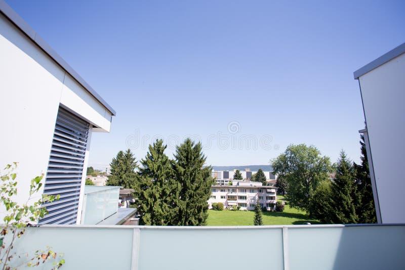 Balcony in Swiss apartment stock image