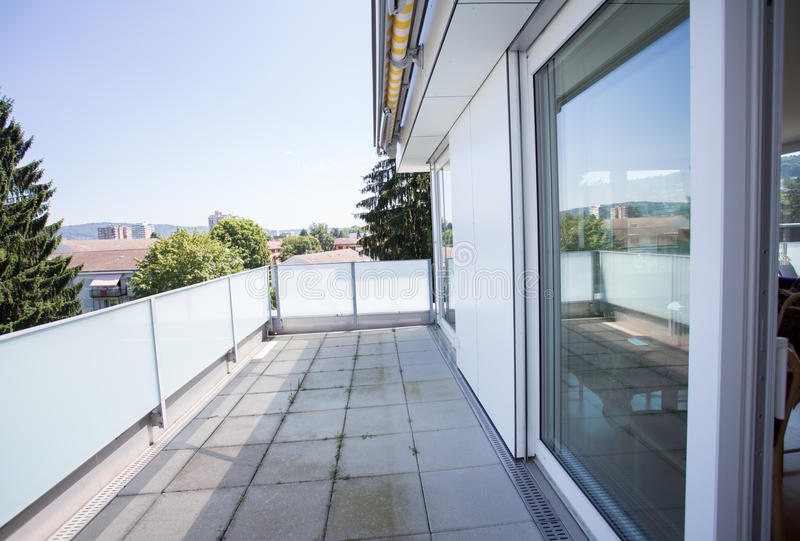 Balcony in Swiss apartment royalty free stock images