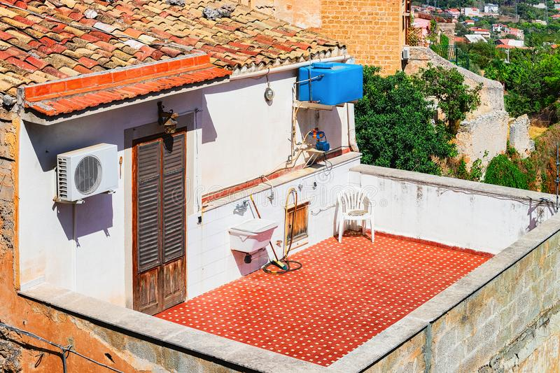 Balcony in typical Italian house in Monreale town Sicily stock photography
