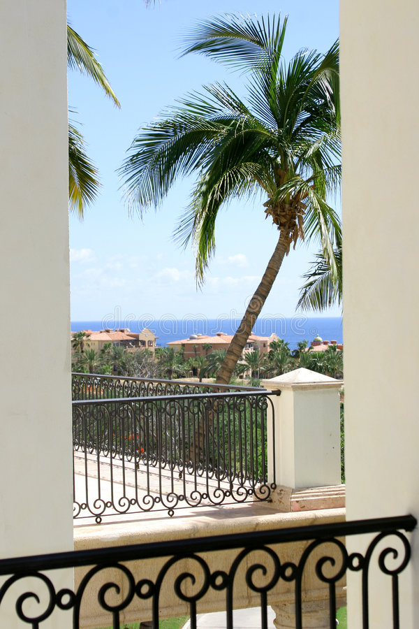 Balcony View. An ocean view from a balcony in Cabo San Lucas, Mexico royalty free stock images
