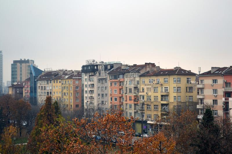 Balcony view of Buildings in the centre of Sofia, Bulgaria stock photos