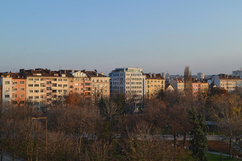 Buildings near national palace of culture in Sofia, Bulgaria. Balcony view of Buildings near the national palace of culture NDK in the centre of Sofia, Bulgaria stock photo