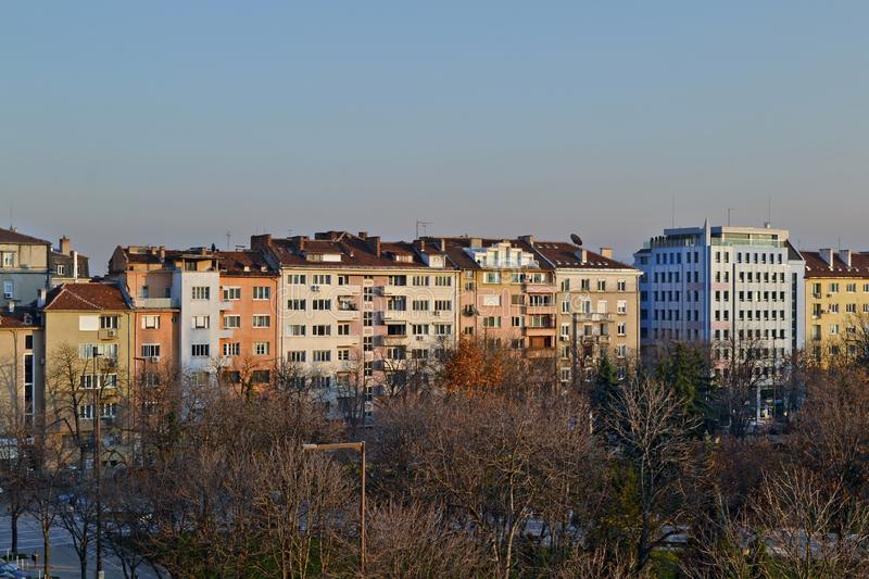 Buildings in central Sofia, near NDK. Balcony view of Buildings near the national palace of culture NDK in the centre of Sofia, Bulgaria stock photography
