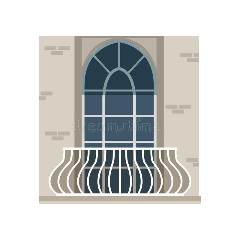 Balcony with wrought iron railing and arched window vector Illustration on a white background. Balcony with wrought iron railing and arched window vector royalty free illustration